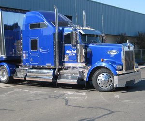 blue, rig, and semi truck image