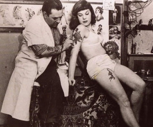 tattoo, vintage, and black and white image