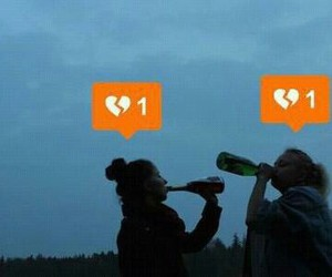 alone, drink, and heart image