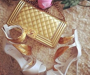 bag, chanel, and gold image