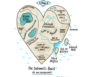 introvert, heart, and book image