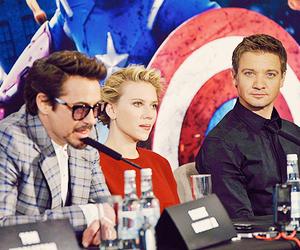 jeremy renner, Scarlett Johansson, and robert downey jr image
