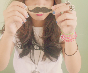 girl, mustache, and moustache image