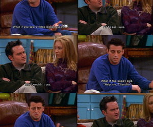 chandler bing, subtitles, and friends image