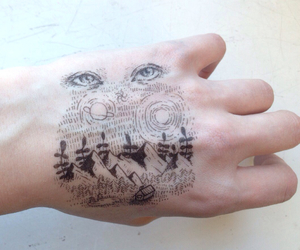 eyes, tattoo, and hand image