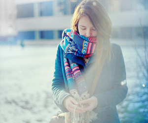 cold, girl, and scarf image
