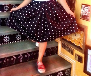 outfits, skirt, and polkadot image