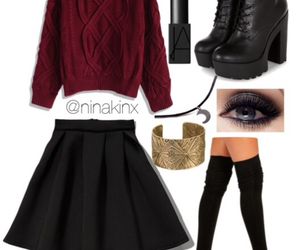 black, black skirt, and boots image