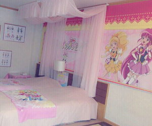 anime, bedroom, and pink image