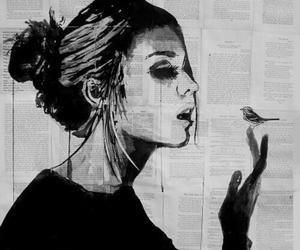 girl, art, and bird image