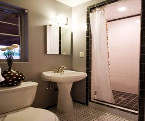 shower curtain home, tree branch bath curtain, and shower curtain rod image