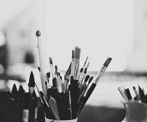 black and white, art, and Brushes image