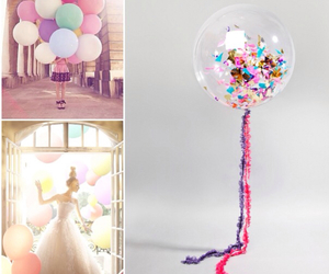 balloons, pastels, and wedding image