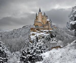 castle, snow, and spain image
