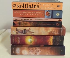 books, orange, and reading image