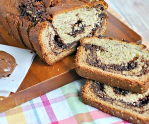 cake, nutella, and banana image