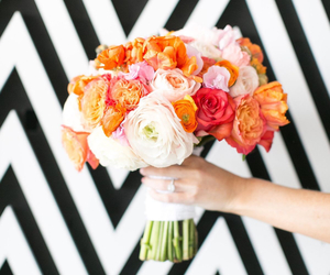 black and white, bouquet, and brights image