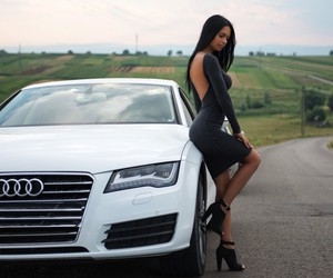 audi, white, and girl image