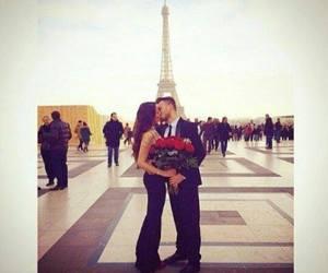paris, couple, and rose image