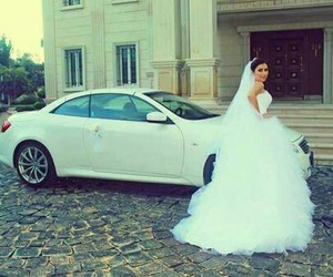 bride, car, and wedding image