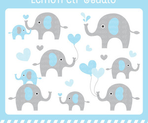 elephants, baby shower invitation, and digital clipart image
