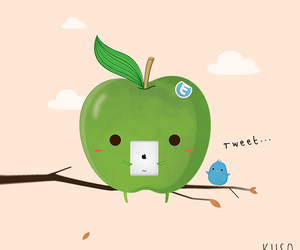 apple, drawing, and funny image
