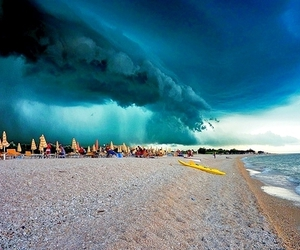 beach, storm, and sky image