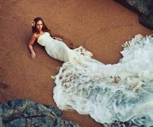beach, sea, and mermaid image