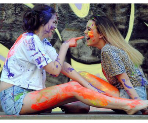 friends, girl, and paint image