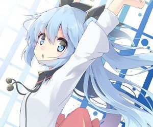 anime, blue hair, and noel image