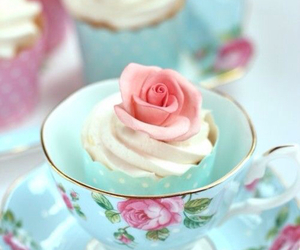 cupcake, flowers, and sweet image