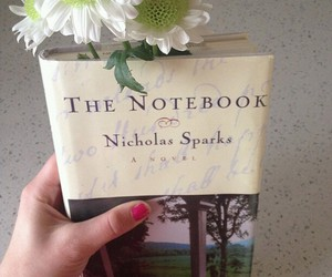 book, the notebook, and flowers image