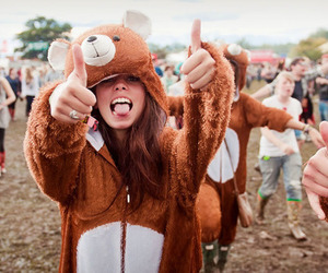 girl, bear, and party image