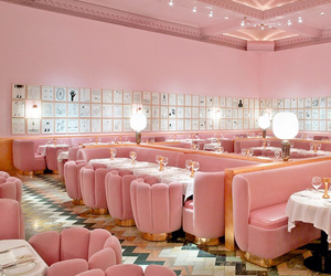 pink, london, and restaurant image