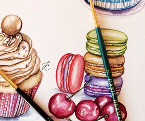 cherries, drawing, and macaroons image