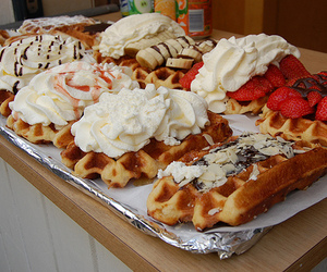 strawberry, waffles, and almond image