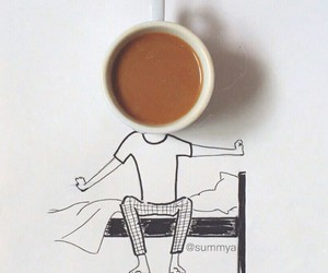art, morning, and coffee image