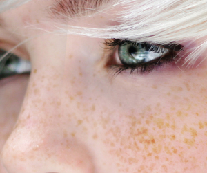 girl, freckles, and eyes image