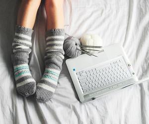 socks, laptop, and white image