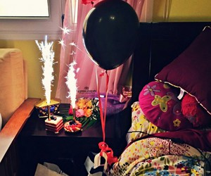 bedroom, birthday, and cake image