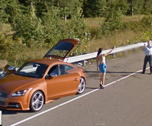 car, google street view, and girl image