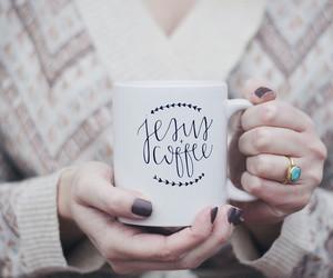coffee, diary, and jesus image