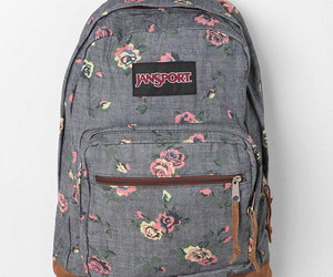 backpack, jansport, and flowers image