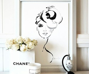 white roses, fashion drawings, and chanel box image