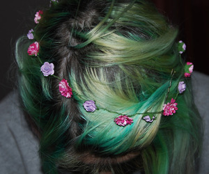 flowers, hair, and green hair image