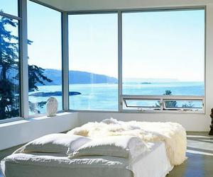 bedroom, bed, and sea image