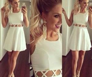 dress, moda, and white image