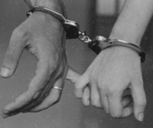 black and white, couple, and jail image