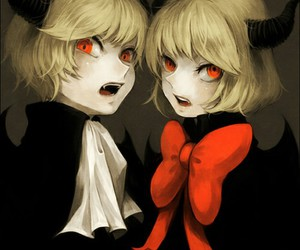 anime, demon, and red eyes image