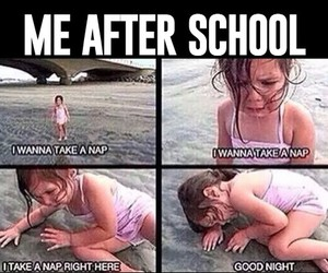 girl, school, and nap image